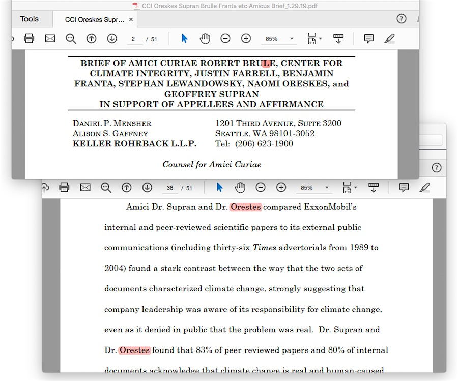 Oreskes et al  amicus brief to CA global warming lawsuits implodes